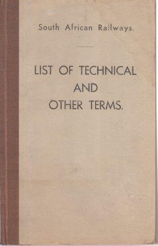 South African Railways SAR-SAS List of Technical & Other Terms, South African Railways