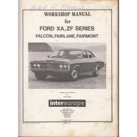 Workshop Manual for Ford Xa, Zf Series, Falcon, Fairlane, Fairmont